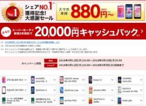楽天モバイル:シェアNO.1獲得記念!大感謝セール